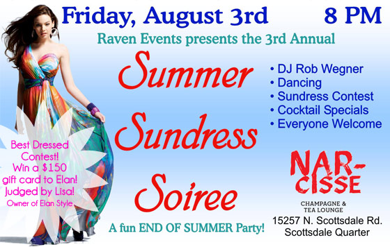 Join us at the Summer Sundress Soiree this Friday, August 3, at 8 pm for your chance to win a $150 gift card to Elan Style!